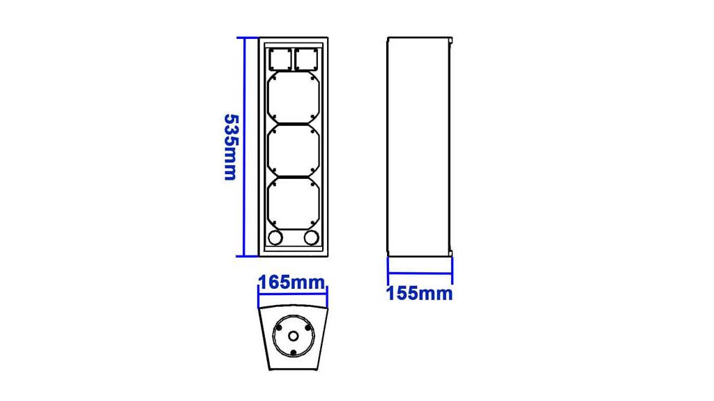 Apt-CLF532 Ultra compact full range triple 5″ cabinet - 535, 155, 165mm