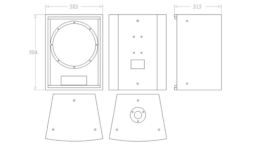 Apt IC12A Multipurpose 12″ coaxial cabinet - 504, 315, 383mm