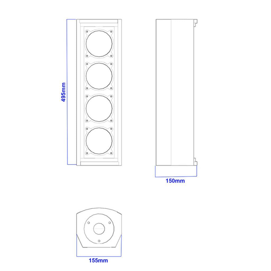 Apt CL4.4 Column array speakers - 495, 150, 155mm
