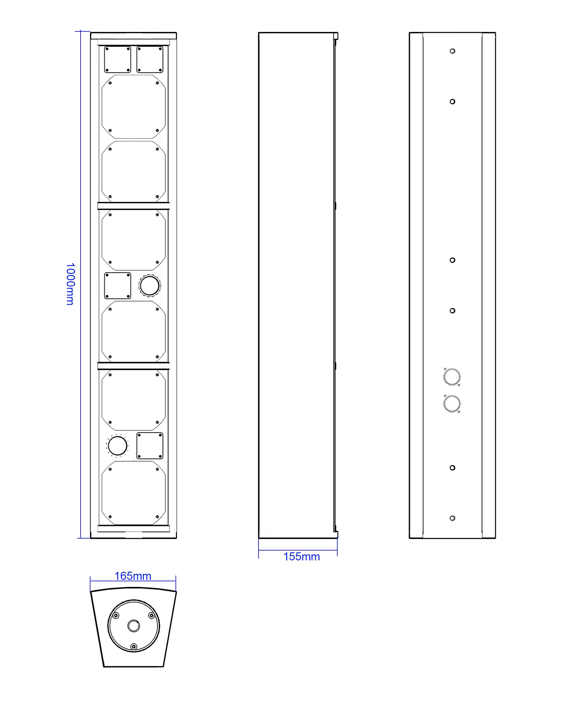 Apt-CLF564 Asymmetrical column array - 1000, 165, 155mm