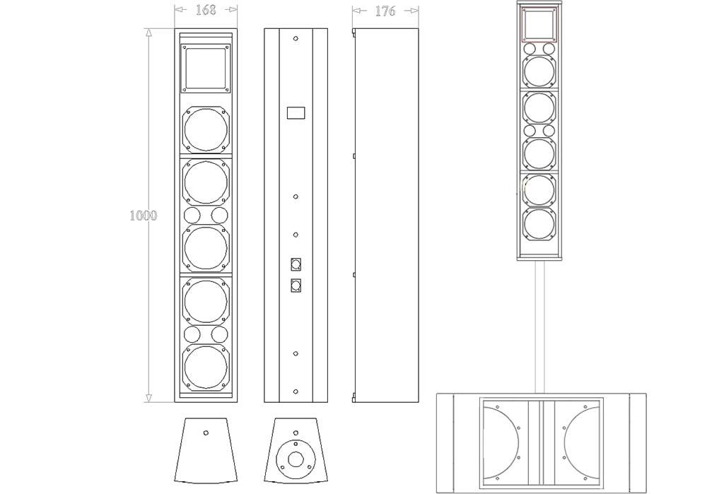 Apt-CLF55H 5″ Low Profile Array Column - 1000, 176, 168mm