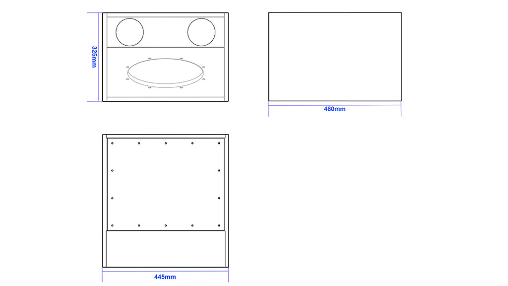 Apt-SC12.1C (Compact under seat 1×12″ sub cabinet) - 325, 480, 445mm
