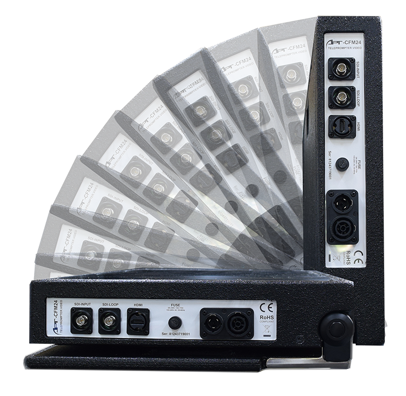 Teleprompter.video Comfort Folding Monitor is adjustable from 0° to 90° in 10 ° increments